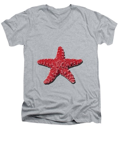Sea Star Red .png Men's V-Neck T-Shirt by Al Powell Photography USA