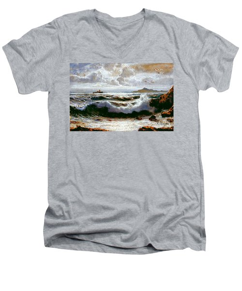 Men's V-Neck T-Shirt featuring the painting Sea Storm by Rosario Piazza