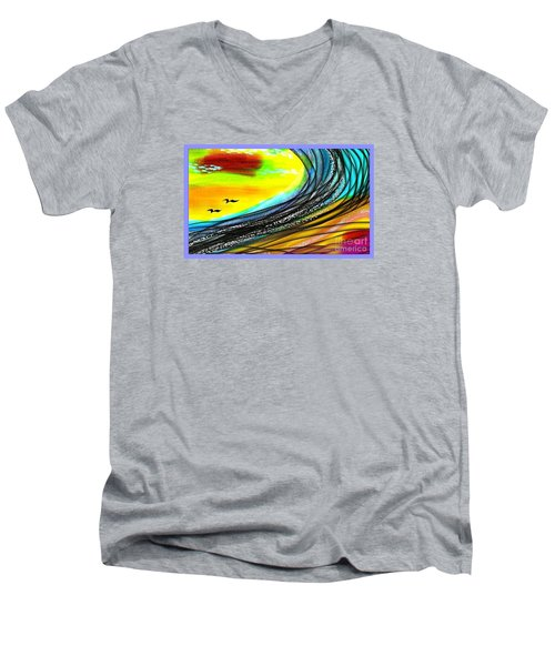 Men's V-Neck T-Shirt featuring the painting Sea by The Art of Alice Terrill