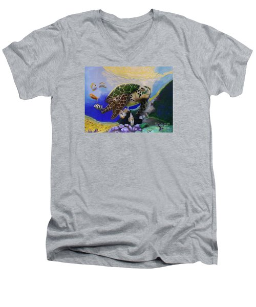 Men's V-Neck T-Shirt featuring the painting Sea Turtle Acrylic Painting by Thomas J Herring