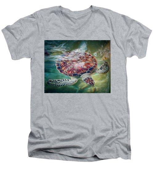 Sea Turtle Dive Men's V-Neck T-Shirt