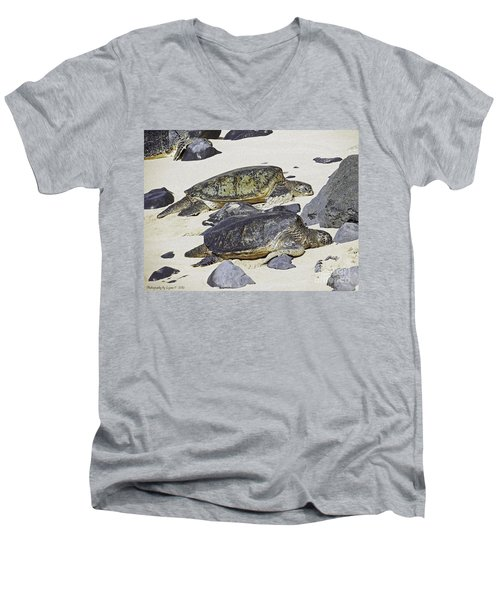 Men's V-Neck T-Shirt featuring the photograph Sea Turtles by Gena Weiser