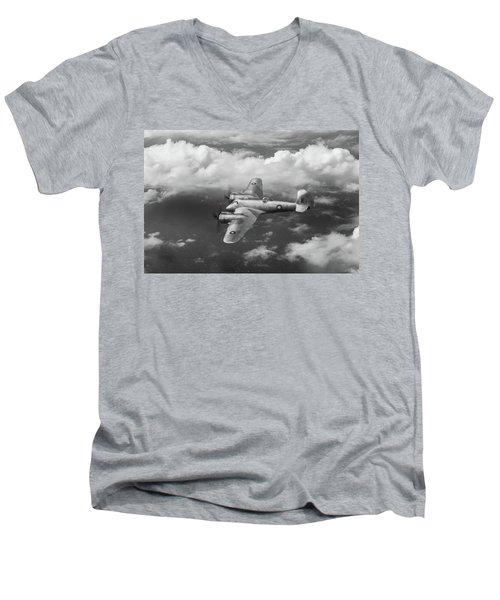 Men's V-Neck T-Shirt featuring the photograph Seac Beaufighter Bw Version by Gary Eason