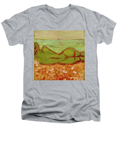 Men's V-Neck T-Shirt featuring the painting Seagirlscape by Paul McKey