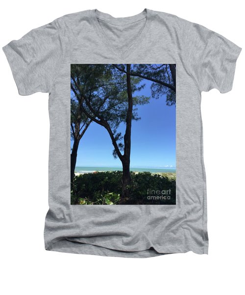 Seagrapes And Pines Men's V-Neck T-Shirt by Megan Cohen