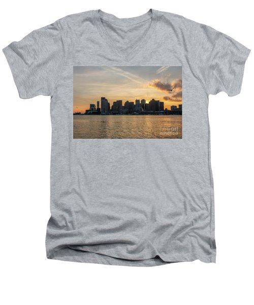 Seagull Flying At Sunset With The Skyline Of Boston On The Backg Men's V-Neck T-Shirt