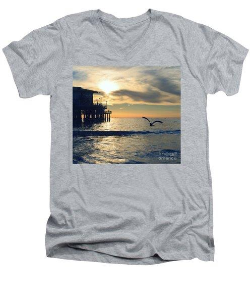 Seagull Pier Sunrise Seascape C2 Men's V-Neck T-Shirt