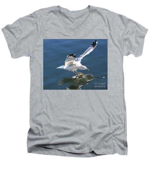 Seagull Reflection Men's V-Neck T-Shirt by Rod Jellison