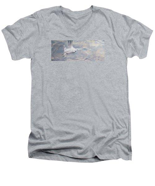 Seagull Men's V-Neck T-Shirt by Vali Irina Ciobanu