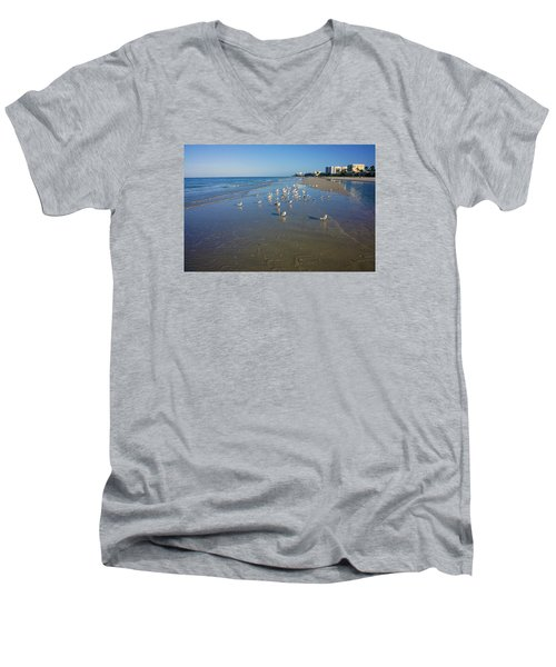 Men's V-Neck T-Shirt featuring the photograph Seagulls And Terns On The Beach In Naples, Fl by Robb Stan