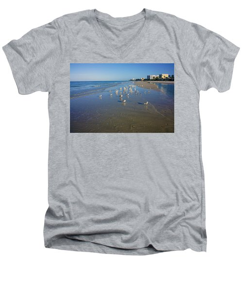 Seagulls And Terns On The Beach In Naples, Fl Men's V-Neck T-Shirt