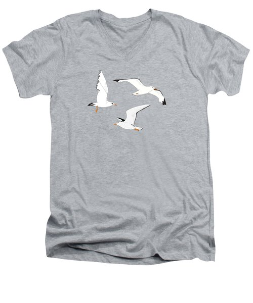 Seagulls Gathering At The Cricket Men's V-Neck T-Shirt
