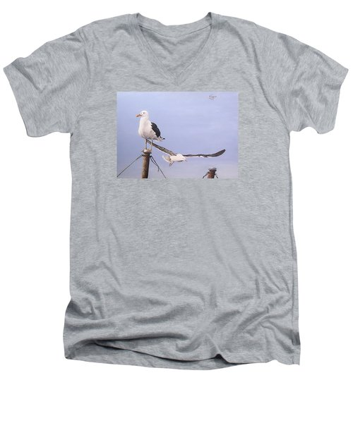 Men's V-Neck T-Shirt featuring the painting Seagulls by Natalia Tejera