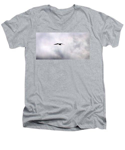 Men's V-Neck T-Shirt featuring the photograph Seagull's Sky 2 by Jouko Lehto