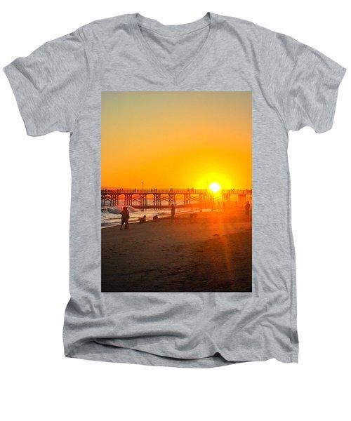 Seal Beach Pier Sunset Men's V-Neck T-Shirt by Mark Barclay