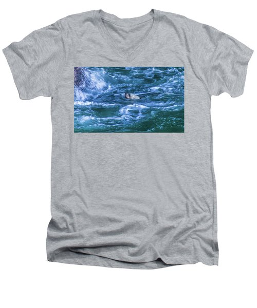 Men's V-Neck T-Shirt featuring the photograph Seal In Teh Water by Jonny D