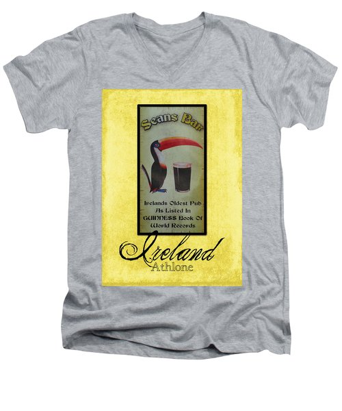 Seans Bar Guinness Pub Sign Athlone Ireland Men's V-Neck T-Shirt