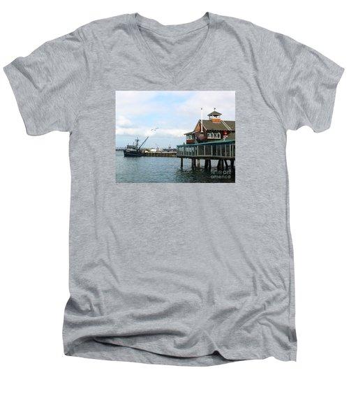 Seaport Village San Diego-2 Men's V-Neck T-Shirt by Cheryl Del Toro