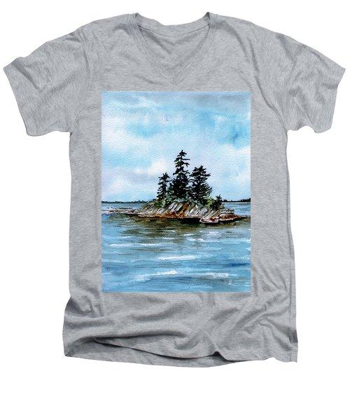Seascape Casco Bay Maine Men's V-Neck T-Shirt