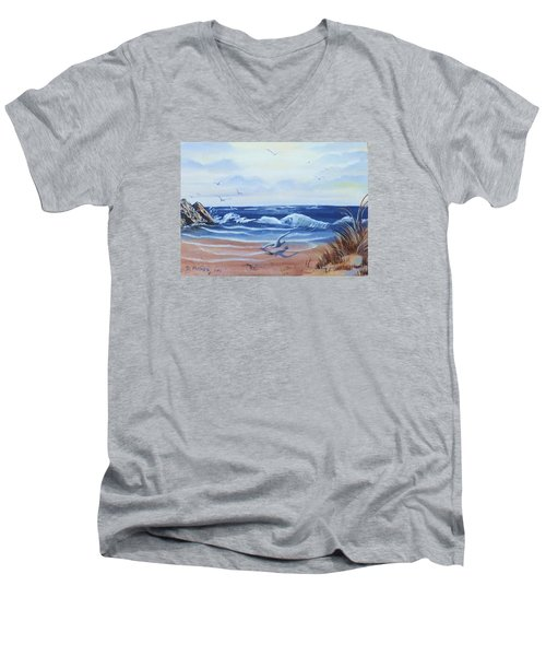 Seascape Men's V-Neck T-Shirt by Denise Fulmer