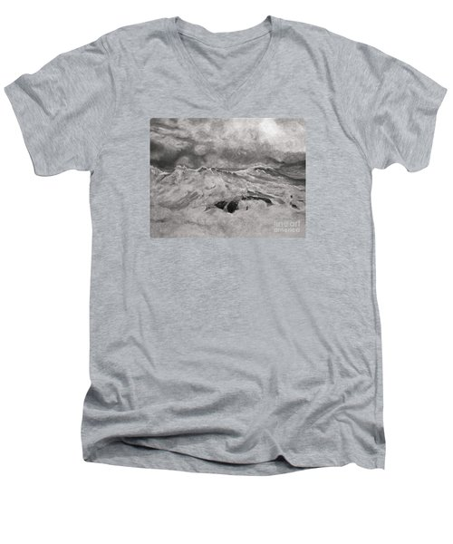 Men's V-Neck T-Shirt featuring the drawing Seascape In Graphite by John Stuart Webbstock