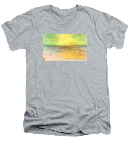 Men's V-Neck T-Shirt featuring the drawing Seascape by Karen Nicholson