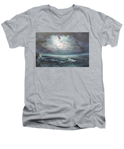 Men's V-Neck T-Shirt featuring the painting Moonlit  by Luczay