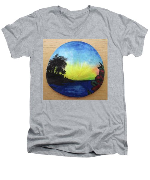 Seascape On A Sand Dollar Men's V-Neck T-Shirt by Mary Ellen Frazee