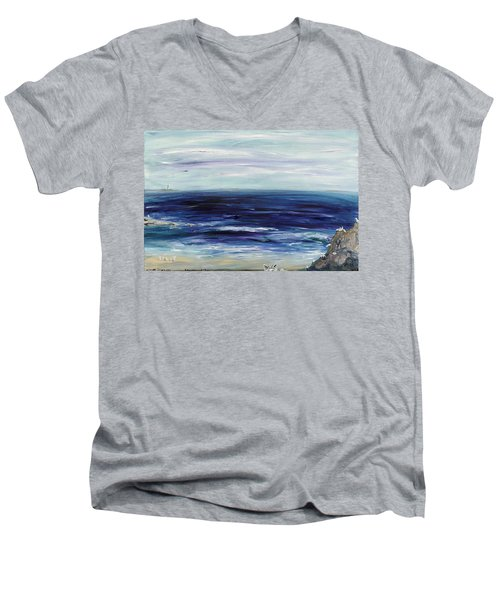 Seascape With White Cats Men's V-Neck T-Shirt