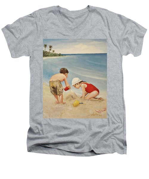 Seashell Sand And A Solo Cup Men's V-Neck T-Shirt