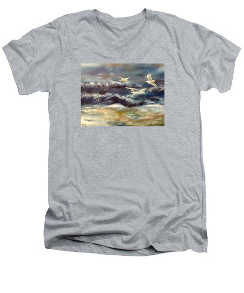 Men's V-Neck T-Shirt featuring the painting Seaside Serenade by Denise Tomasura