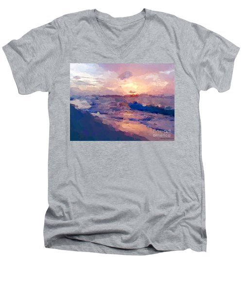 Seaside Swirl Men's V-Neck T-Shirt by Anthony Fishburne