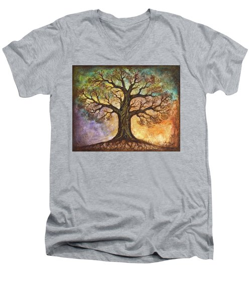 Men's V-Neck T-Shirt featuring the painting Seasons Of Life by Agata Lindquist