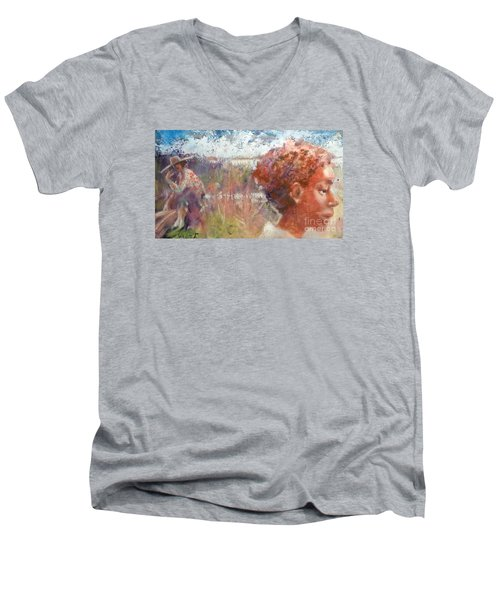 Seasons Of Sweetgrass Men's V-Neck T-Shirt by Gertrude Palmer
