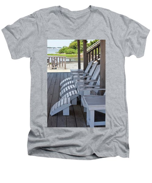 Men's V-Neck T-Shirt featuring the photograph Seating By The Sea - Montauk by Art Block Collections
