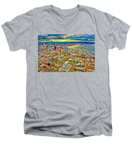 Men's V-Neck T-Shirt featuring the photograph Seattle by Jerry Cahill