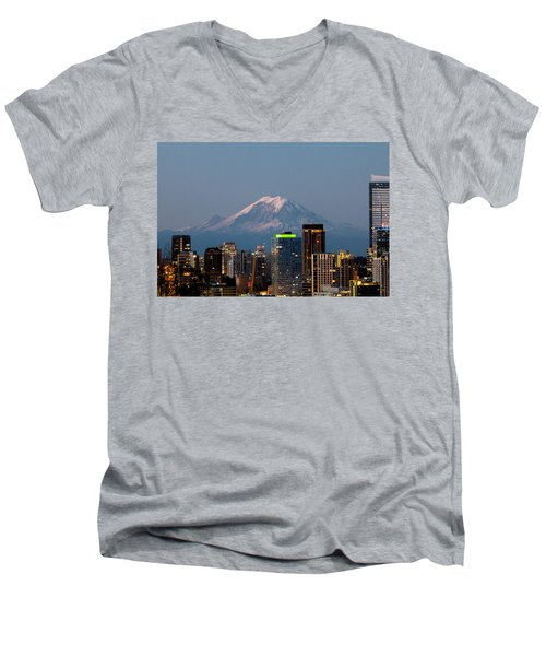 Seattle-mt. Rainier In The Morning Light.2 Men's V-Neck T-Shirt by E Faithe Lester