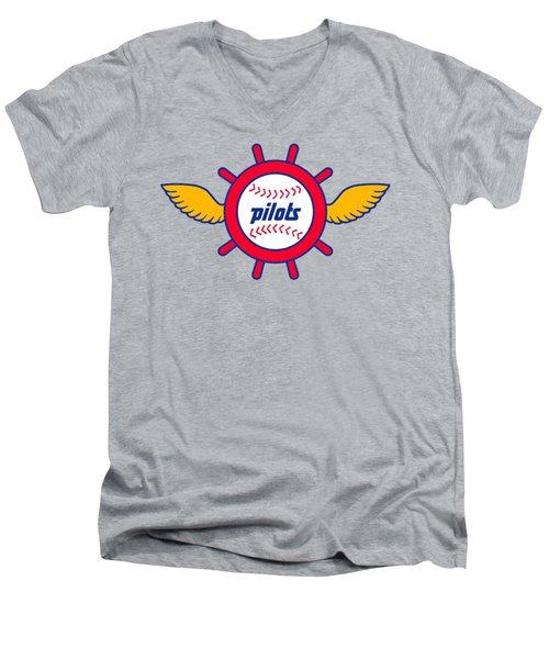Seattle Pilots Retro Logo Men's V-Neck T-Shirt
