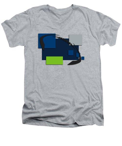 Seattle Seahawks Abstract Shirt Men's V-Neck T-Shirt by Joe Hamilton