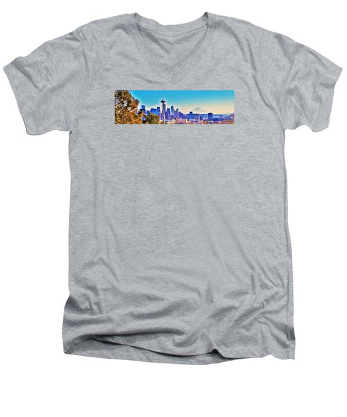 Seattle Sky Men's V-Neck T-Shirt by Martin Cline