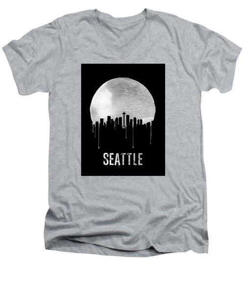 Seattle Skyline Black Men's V-Neck T-Shirt by Naxart Studio