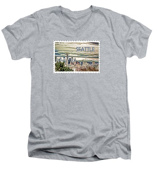 Seattle Skyline In Fog And Rain Text Seattle Men's V-Neck T-Shirt
