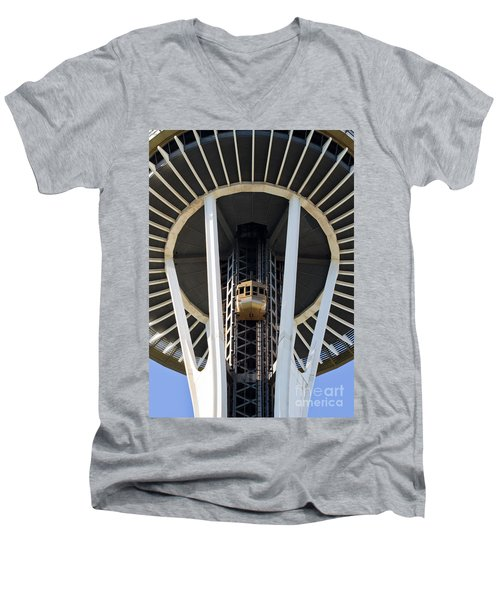 Men's V-Neck T-Shirt featuring the photograph Seattle Space Needle Elevator by Chris Dutton