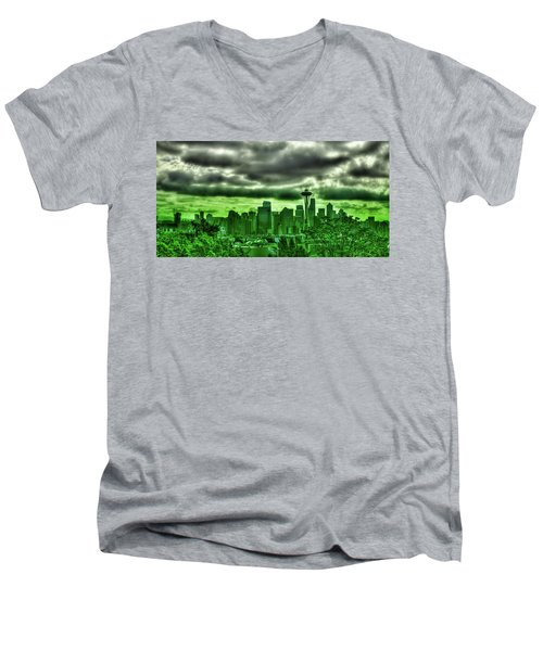 Seattle - The Emerald City Panorama Men's V-Neck T-Shirt by David Patterson