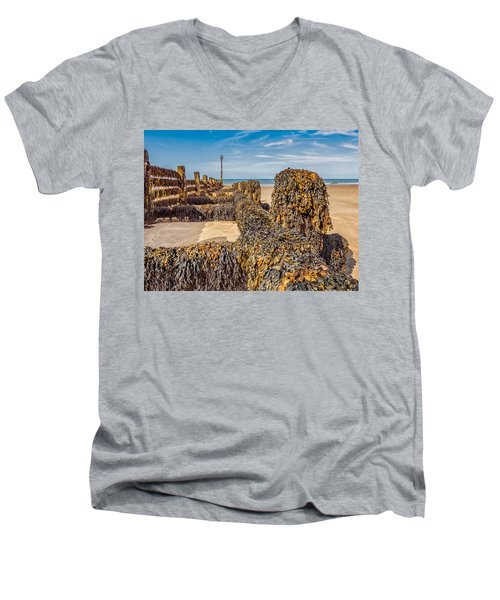 Men's V-Neck T-Shirt featuring the photograph Seaweed Covered by Nick Bywater