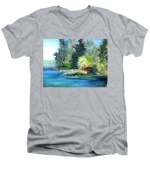 Secluded Boathouse-millsite Lake  Men's V-Neck T-Shirt