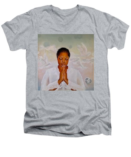 Men's V-Neck T-Shirt featuring the painting Secret Closet by Christopher Marion Thomas