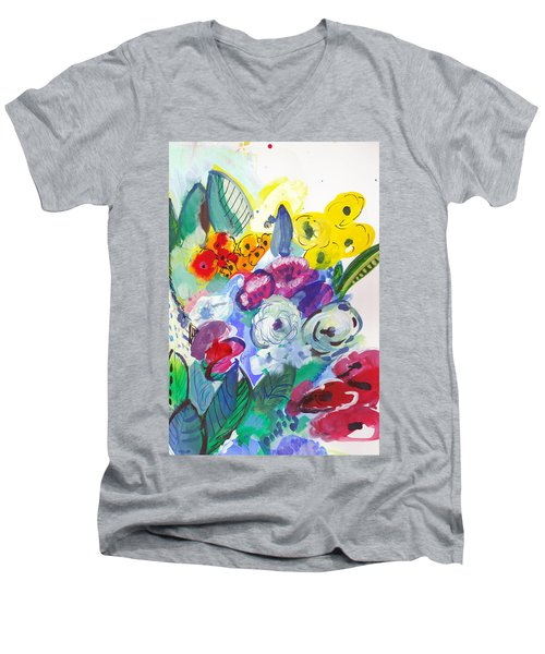 Secret Garden With Wild Flowers Men's V-Neck T-Shirt