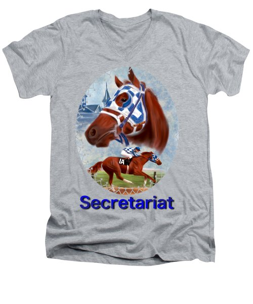 Secretariat Racehorse Portrait Men's V-Neck T-Shirt
