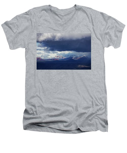 Men's V-Neck T-Shirt featuring the photograph Sedona Area Third Winter Storm by Ron Chilston